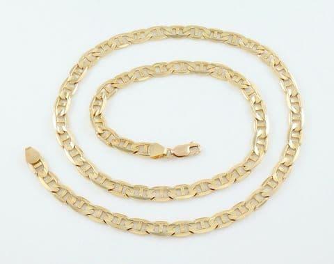 Vintage Italian Solid 9Ct 9K Gold Flat Anchor Link Chain Necklace 24 inches